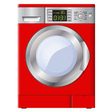 Red washing machine on a white background. Isolated. Vector. Royalty Free Stock Photo