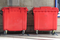 Red waste containers Stock Photo
