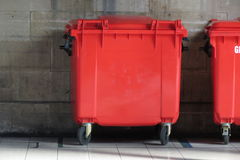 Red waste containers Stock Image