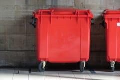 Red waste containers. Aka Litter bin garbage bin trash bin or waste bin Stock Image