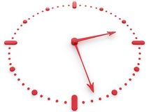 Red watch. The Nice watch with dial of the red colour, executed in 3d, on white background Stock Photography