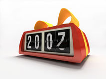Red watch - counter on white background New year gift. 3D royalty free stock photography