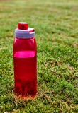 Red water bootle on the grass stock photo
