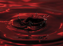 Red water drop and splash. Colorful red water drop and splash Royalty Free Stock Photography