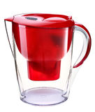Red water filtration pitcher Stock Photo