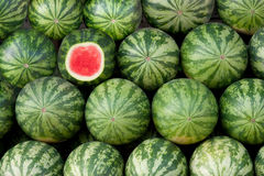 Red water melon on a display Royalty Free Stock Photos