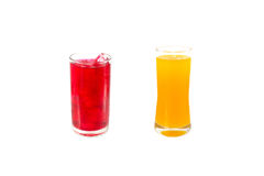 Red water and orange juice Royalty Free Stock Images
