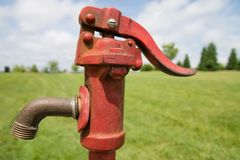 Red Water Pump Royalty Free Stock Photo