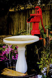Red Water Pump and Bird Bath Stock Photo