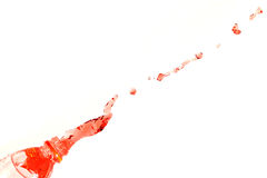 The Red water that spread out from the bottle. Stock Image