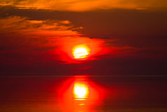 Red water on a sunset Royalty Free Stock Photo
