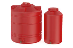 Red water tanks. Isolated on white background Royalty Free Stock Images