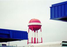 Red water tower Stock Image