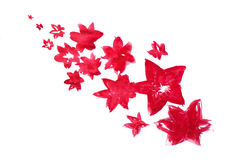 Red watercolor abstract handmade flowers Royalty Free Stock Images