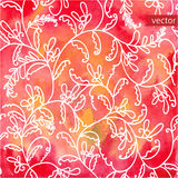 Red watercolor background with seamless floral pattern. Illustration Stock Image
