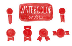Red watercolor badges. Set of hand-drawn red watercolor badges royalty free illustration