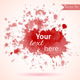 Red watercolor blot design element for your text Stock Image