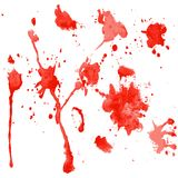 Red watercolor blots on a white background Stock Photography