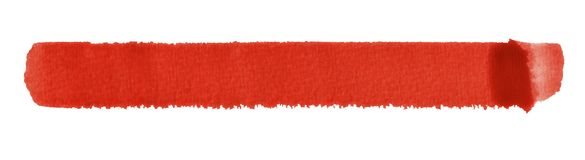 Watercolour brush stroke. A red watercolor brush stroke in white back Royalty Free Stock Photos