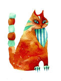 Red watercolor cat stylization Royalty Free Stock Images
