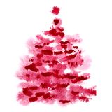 Red watercolor Christmas tree Royalty Free Stock Image