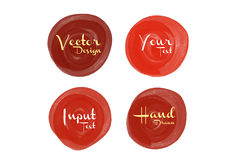 Red watercolor circle paint, icon design Stock Image