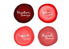 Red watercolor circle paint, icon design, web icon, vector illustration, drawing object, sign. For cosmetics, Art abstract banner design Stock Illustration
