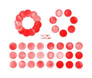 Red watercolor circles set Royalty Free Stock Image