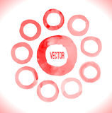 Red watercolor circles set Stock Image