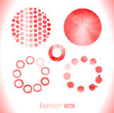 Red watercolor circles set Stock Photos