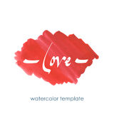 Red watercolor element. Handwritten font. Hand painted template for design in love theme royalty free stock photo