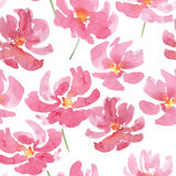 Red watercolor flowers seamless pattern Royalty Free Stock Photography