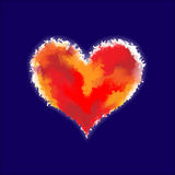Red watercolor glowing heart Royalty Free Stock Photo