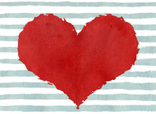 Red watercolor grunge heart on abstract light blue brush strokes background. Royalty Free Stock Photos