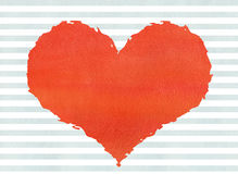 Red watercolor grunge heart on watercolor blue stripes backgroun Royalty Free Stock Image