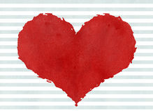 Red watercolor grunge heart on watercolor blue stripes backgroun Stock Images