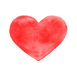 Red watercolor heart, isolated Royalty Free Stock Image