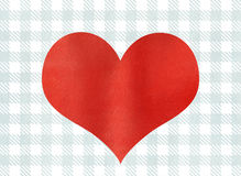 Red watercolor heart on watercolor blue checked background. Stock Photo
