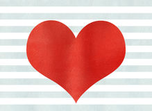Red watercolor heart on watercolor blue stripes background. Stock Photo