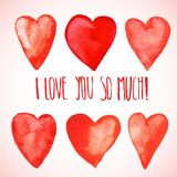 Red watercolor hearts. Cute red watercolor hearts for Valentine's day Stock Photos