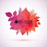 Red watercolor painted autumn leaves banner Royalty Free Stock Photos