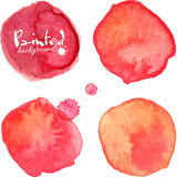 Red watercolor painted vector stains set Stock Image