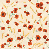 Red watercolor poppies seamless pattern. Colorful watercolor wild poppies on a dusty pink background Stock Illustration