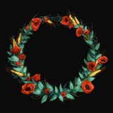 Red watercolor poppies wreath Stock Photo