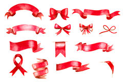 Red watercolor ribbons and bows Stock Photo