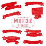 Red watercolor ribbons. Set of hand-drawn  red watercolor ribbons Stock Photo
