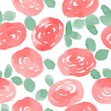 Red watercolor roses seamless vector pattern. Royalty Free Stock Images