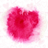 Red watercolor splash with cute heart and flowers pattern. Royalty Free Stock Image