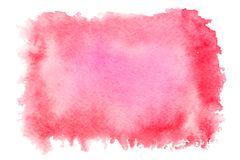 Red watercolor splash isolated on white background. Hand drawn painting stock photos