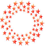 Red watercolor stars circle Royalty Free Stock Photo